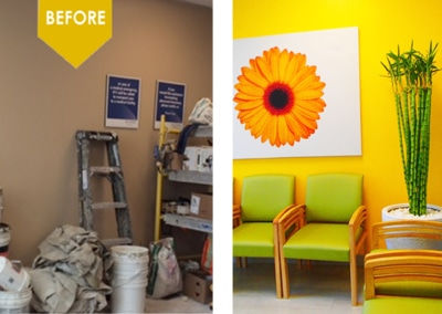 Kim can consult with you to give a wonderful ambience to your waiting room.
