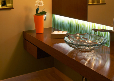 Custom Vanity with Glass Laminated Seaweed Backsplash