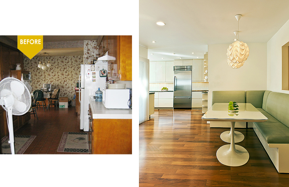 modern kitchen kim colwell design mod shop table custom green banquette mid century modern home