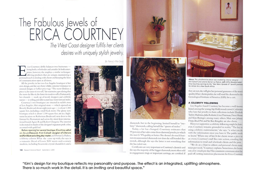 Rapaport magazine features kim colwell's store design for erica courtney