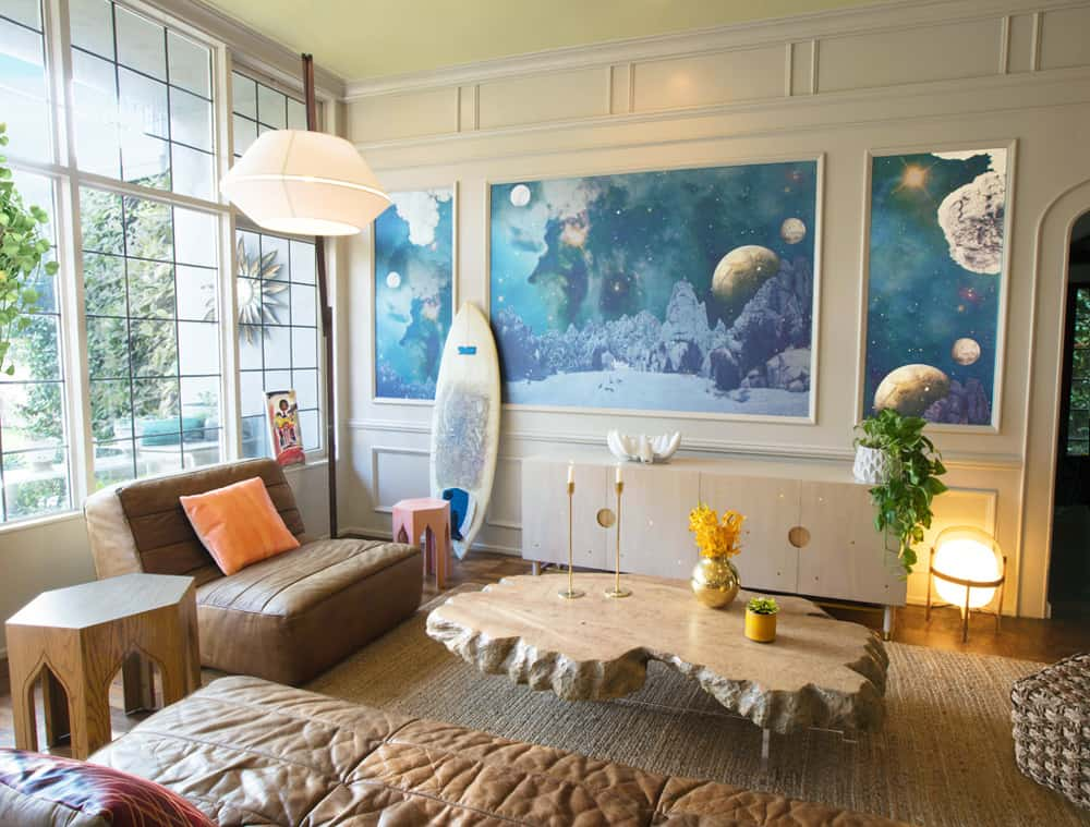 Interior Design | Custom Mural, Coffee Table & Credenza | Photo by Jay Goldman